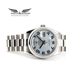 Rolex Day-Date Platinum Glacier Blue Wave Arabic Dial 118206