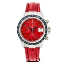 Tudor Prince Date 79260p Mens Automatic Watch Red Dial Leather...