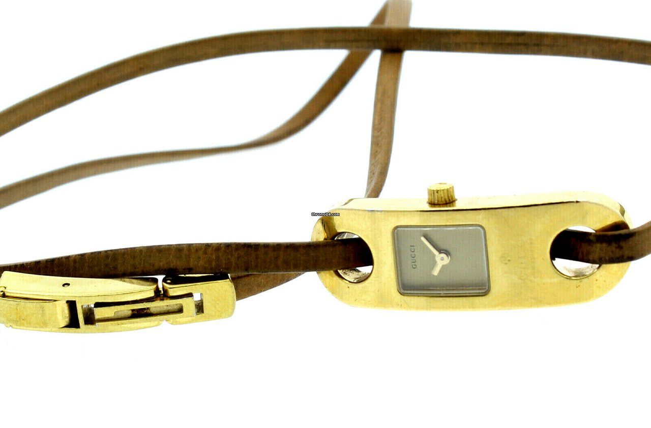 Gucci 6100l Gold Tone Quartz Long Wrap Around Rope Bracelet Ladies Watch