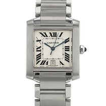 Cartier Tank Française pre-owned 32mm Silver Date Steel