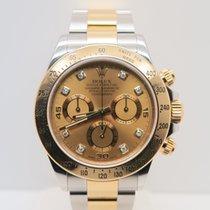 Rolex Daytona 18k Gold Steel Diamond Dial