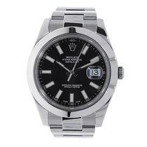 Rolex DATEJUST II 41mm Stainless Steel  Black Index Watch 116300