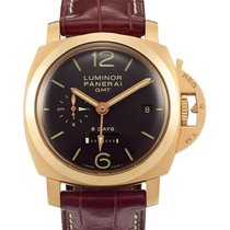 Panerai , Yellow Gold Dual Time Zone Wristwatch With Date And...