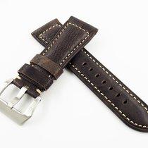 沛納海 26mm Silver Grey Panerai Style Calf Leather Watch Band...