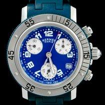 Hermès Clipper Stahl 33mm Blau Arabisch