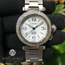 Cartier Pasha 2475 W31044M7 1.8ct Diamond Bezel Steel Women's...