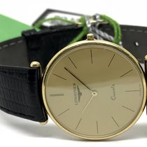 Longines GENTS 18k SOLID GOLD QUARTZ WATCH WITH BLACK LEATHER...