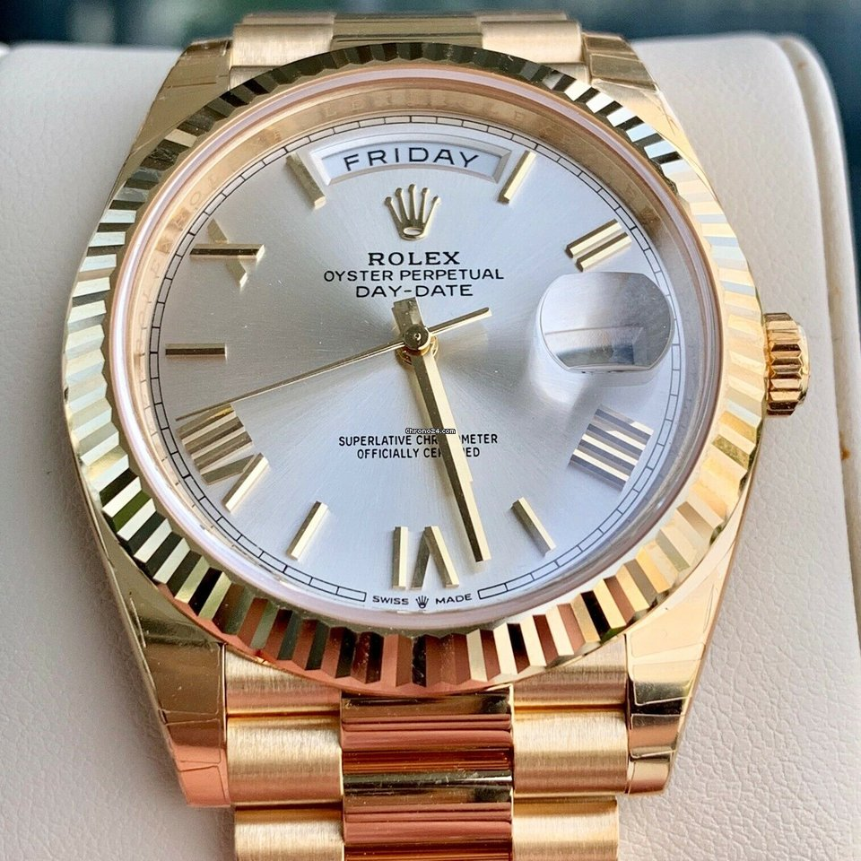 Rolex Day,date 40 Silver Roman 228238 18k Yellow Gold new Box \u0026 Papers
