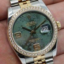 Rolex Datejust Goud/Staal 36mm Groen Arabisch