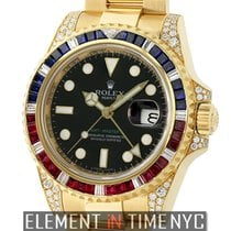 Rolex GMT-Master II 18k Yellow Gold Ruby, Sapphire &...