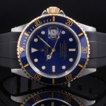 Rolex 16613 Twotone Submariner  Date w/ Blue Dial on Rubber Strap