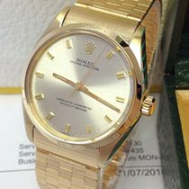 Rolex Oyster Perpetual 34 Žluté zlato 34mm Stříbrná Bez čísel