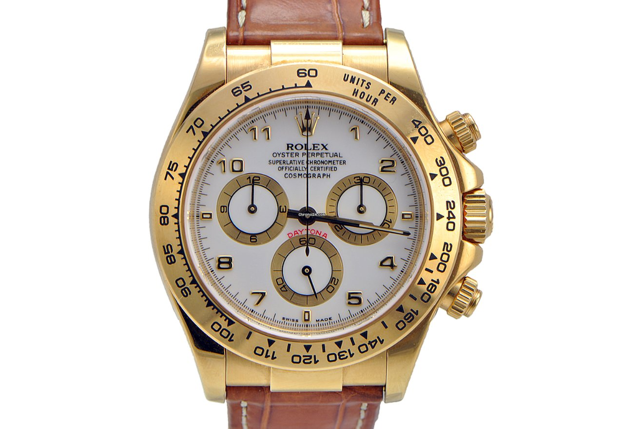 ecacf692f31 Rolex Daytona Yellow Gold on Leather Strap White Dial for Price on ...