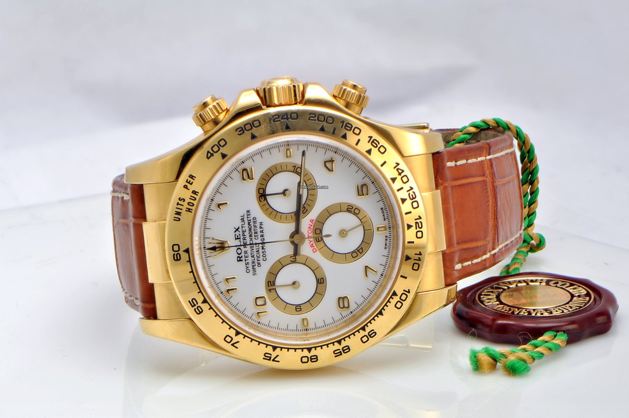 Rolex Daytona Yellow Gold On Leather Strap White Dial For Price On