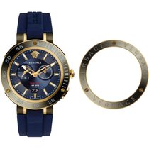 Versace Swiss Made V-Extreme Pro Dual Time Sapphire Gold