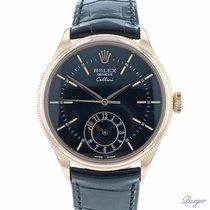 Rolex Cellini Dual Time Pозовое золото 39mm Чёрный