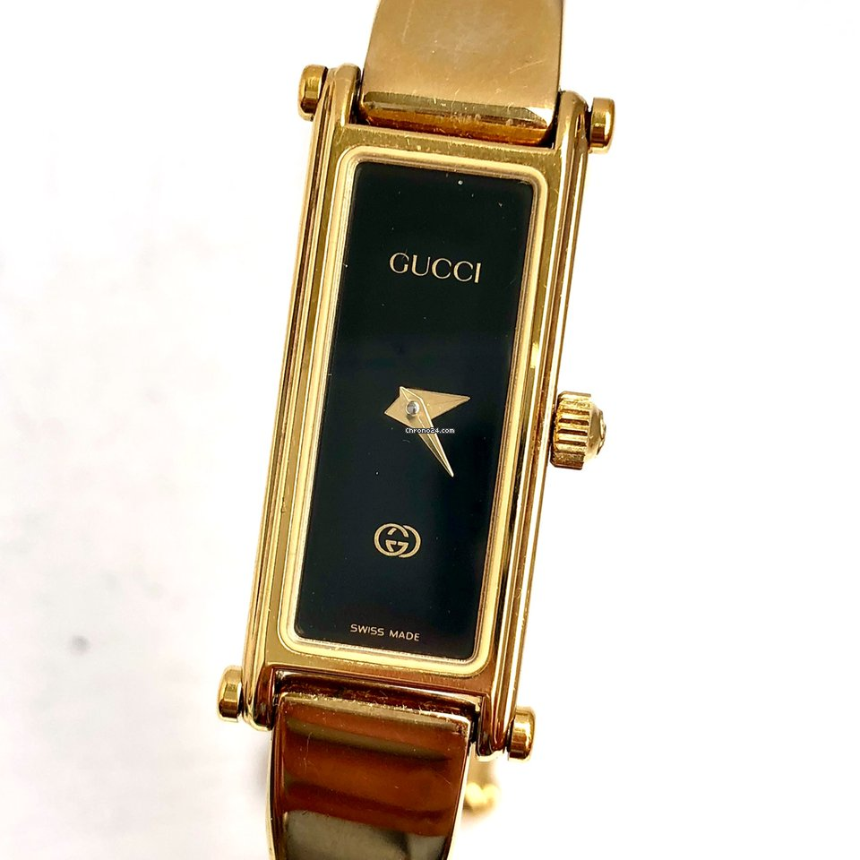 9d8bdf6ed Gucci 18K Yellow Gold-Plated Bracelet Ladies Watch Black Dial... for $520  for sale from a Trusted Seller on Chrono24