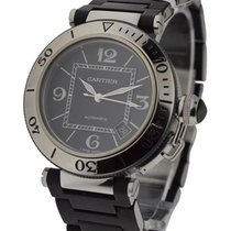 Cartier W31077U2 Pasha Seatimer in Steel - On Black Rubber...