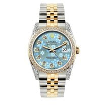 Rolex Datejust Men's 36mm Blue Floral Dial Gold And...