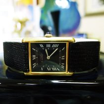 Cartier Must De Cartier Tank Vermeil Yellow Gold Black Roman...