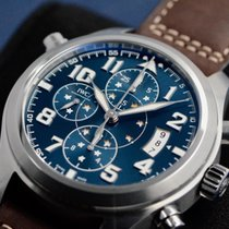 IWC Pilot Double Chronograph Stal 44mm Niebieski Arabskie