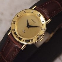 Gucci Gold Plated Ladies Watch SERVICED Roman Numerals MINT black