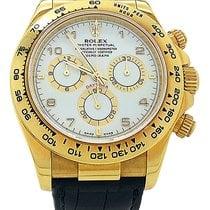Rolex Daytona 116518 18k Yellow Gold Leather 40mm White...