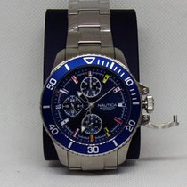 Nautica new Quartz Center Seconds Luminescent Numerals Luminescent Hands Luminous indexes 44mm Steel Mineral Glass