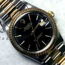 Rolex Oyster Perpetual Date подержанные 34mm Чёрный Дата Золото/Сталь