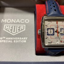 TAG Heuer Steel Automatic Silver No numerals 39mm new Monaco