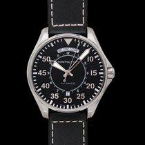 Hamilton Khaki Aviation Pilot Day Date Auto Black Steel/Leathe...
