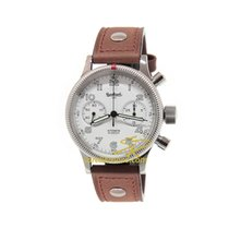 Hanhart Admiral 40 mm Automatic Brown Leather Strap White Dial...