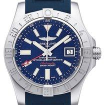 Breitling Avenger II GMT gebraucht 43mm Blau Datum GMT/Zweite Zeitzone Kautschuk