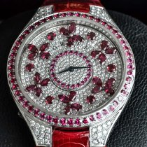 Graf White gold 44mm Quartz DISCO BUTTERFLY Ruby on DIAMOND new