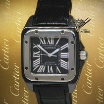 Cartier Santos 100 pre-owned 33mm Black Leather