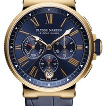 Ulysse Nardin MARINE CHRONOGRAPH Pink Gold Dial Blue Leather...