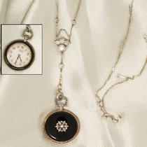 까르띠에 CARTIER 1912 ART DECO PLATINUM CHAIN ENAMEL PENDANT WATCH