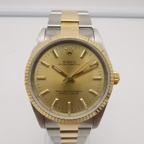 Rolex Oyster Perpetual Gold/Steel 34mm Champagne No numerals