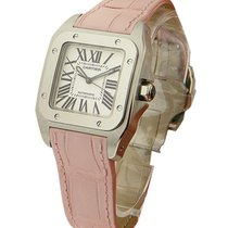 Cartier W20126X8 Santos 100 32mm in Steel - on Pink Leather...