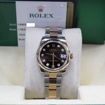 Rolex Midsize 178241 Black Diamond Dial 18k Rose Gold & Steel...
