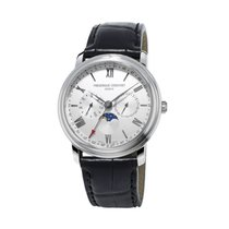 Frederique Constant Classics Business Timer Steel 40mm Silver Roman numerals