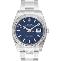勞力士 Oyster Perpetual Date Blue/White Gold 34mm - 115234