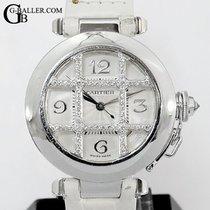Cartier Oro blanco Automático Blanco Árabes 32mm usados Pasha
