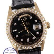 Rolex Day-Date President Diamond Black 36mm 18038 18K Yellow...