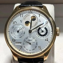 IWC Yellow gold Automatic Silver Arabic numerals 46mm pre-owned Portuguese Perpetual Calendar
