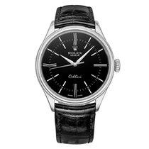 Rolex 50509 Cellini Black Dial Leather Strap White Gold