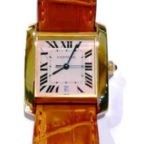 Cartier Tank Française pre-owned 28mm White Date Crocodile skin