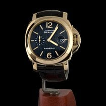 Panerai Or jaune Remontage automatique Noir Sans chiffres 44mm occasion Luminor Marina Automatic