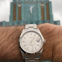 Rolex Steel Automatic White No numerals 34mm pre-owned Oyster Perpetual Date