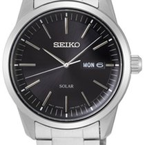 Seiko Solar Steel 40mm Black No numerals